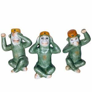 See Hear & Speak No Evil Monkeys Majolica Pottery
